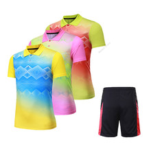 Adsmoney Women/Men Tennis Shirt suits Perfect quality Anti-sweat Turn-down collar Sports Badminton Table Tennis shirt shorts kit(China)