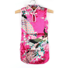 Summer Spring Multi-Colors Chinese Qipao for Baby Girl Kids Floral Peacock Cheongsam Dress Clothes
