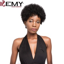 KEMY HAIR FASHION Brazilian Human Hair Wigs Natural Color Short Style Afro Kinky Wave Non-Remy Hair Fashion Wigs women