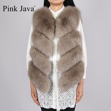 pink java QC8005 New arrival hot sale natural real fox fur vest gilet for women girls FREE SHIPPING(China)