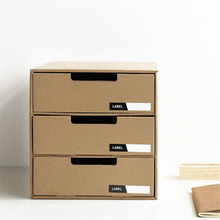 Advanced Japanese Style Multi-Function Table Cosmetic Organizer Case Holder Table Desktop Storage Paper Box with Drawer for Home