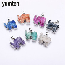 Yumten Crystal Pendant Elephant Charms Natural The Geode Clusters Buds Ribbon Necklace Jewelry Gift Colar Feminino Chokers