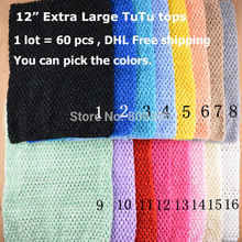 "60pcs/lot DHL Free shipping, 12"" Large Crochet Tops in a Variety of Colors Waffle Crochet Tube Top for Tutu Dresses U pick color(China)"