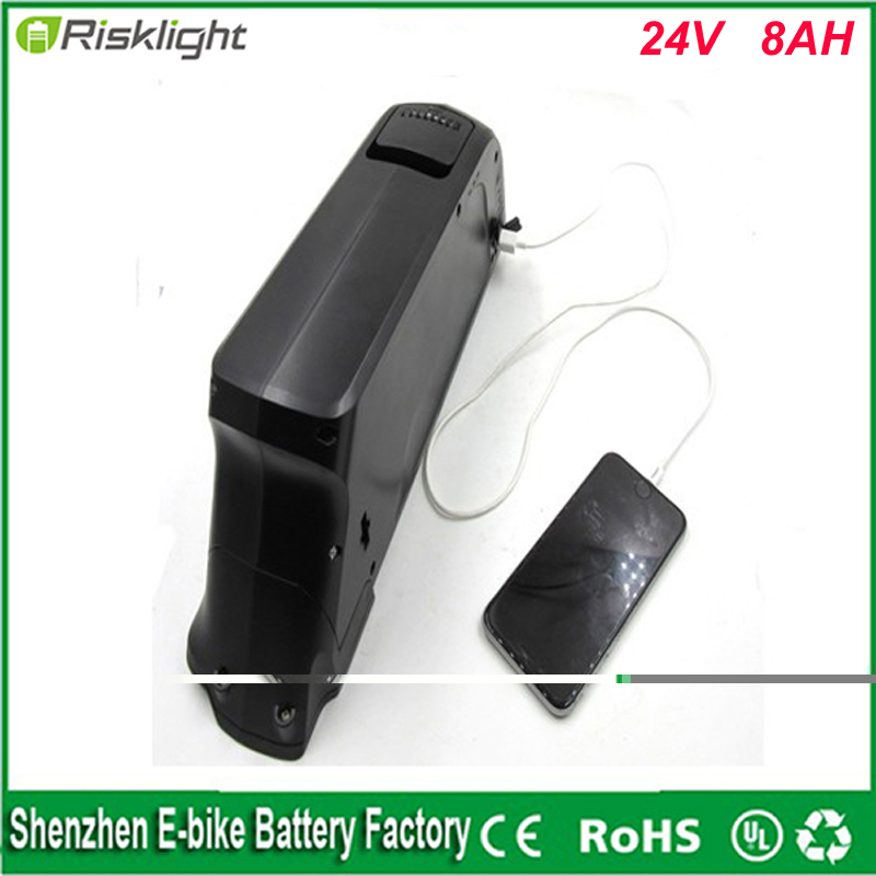 Free Tax Dolphin case 24V 8Ah E Bike li-ion Battery Pack used on 24V 250W motor Electric Bike Battery with charger and 5V USB(China)
