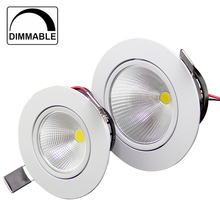 20pcs/lot Dimmable Led Downlight COB Ceiling Spot Light 3w 5w 10w ceiling recessed Lights Warm Cool White Indoor Lighting(China)