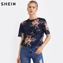 SHEIN Flower Print Velvet T-shirt Navy Summer Women T shirt Crew Neck Short Sleeve Casual Floral Womens Tee Shirt(China)