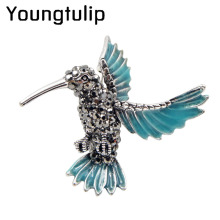 Young tulip Blue Enamel Hummingbird Brooches for Women Rhinestone Animal Brooch Pin Vintage Fashion Jewelry High Quality Broches(China)