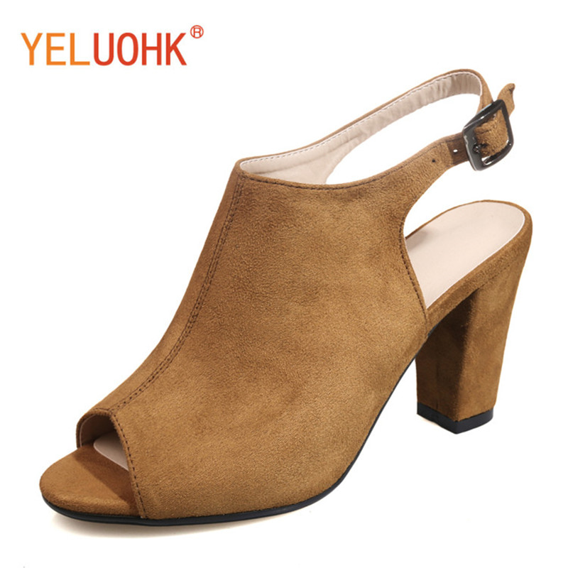 35-43 High Heels Shoes Women Peep Toe Shoes Heels Women Pumps Suede High Quality<br>