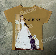 Track Ship+Vintage Retro Rock&Roll Punk T-shirt Top Tee Romantic Comedy Film Audery Hepburn Sabrina with Two Poodle Dog 1305(Hong Kong)