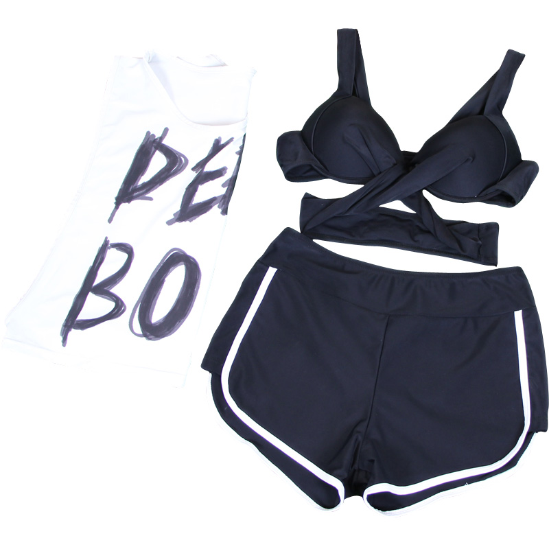 2018 New Hot Sale Female Conservative South Korean Students Gather Small Fresh Sexy Chest Cover Belly Split Swimsuit Boxer <br>