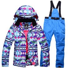 Brands Woman Cheap Snow Ladies Ski snowboard  Girl Clothing skiing suit Sets outdoor sports Costume Winter Jacket + Bib pant
