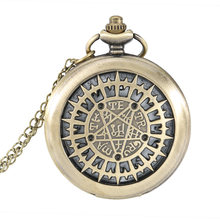Fashion Pocket Watch Hollow Five pointed Star Compass Dial Quartz Watches Analog Pendant Necklace Chain Clock Gifts LL@17