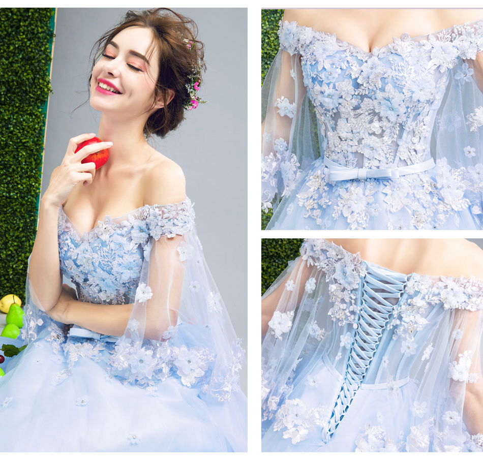 Angel Wedding Dress Marriage Bride Bridal Gown Vestido De Noiva Fairy, blue, handmade petals 2017 257 11