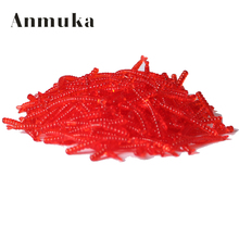 Anmuka hot-selling 200pcs Smell red worm lures 2cm soft bait carp fishing lure set artificial fishing tackle FREESHIPPING