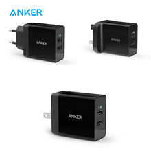 Anker 24W 2-Port UK/EU Plug USB Wall Charger with PowerIQ Technology for iPhone, iPad, Samsung, Nexus, HTC, Laptops and More(China)