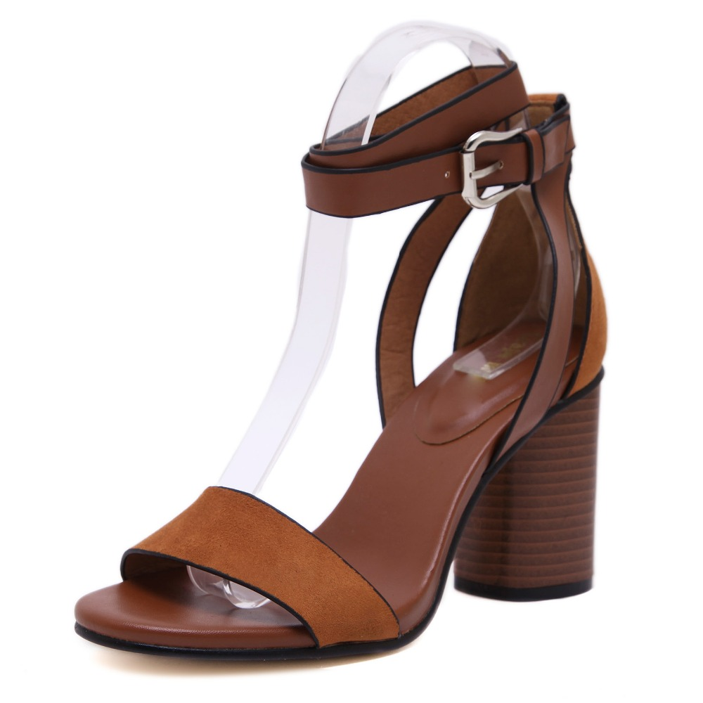 2017 Europe US Summer NEW FASHION Noble Women Suede PU Leather Sandals Brown Black Strap Hasp High Wedge Heel Hollow Casual Shoe<br><br>Aliexpress