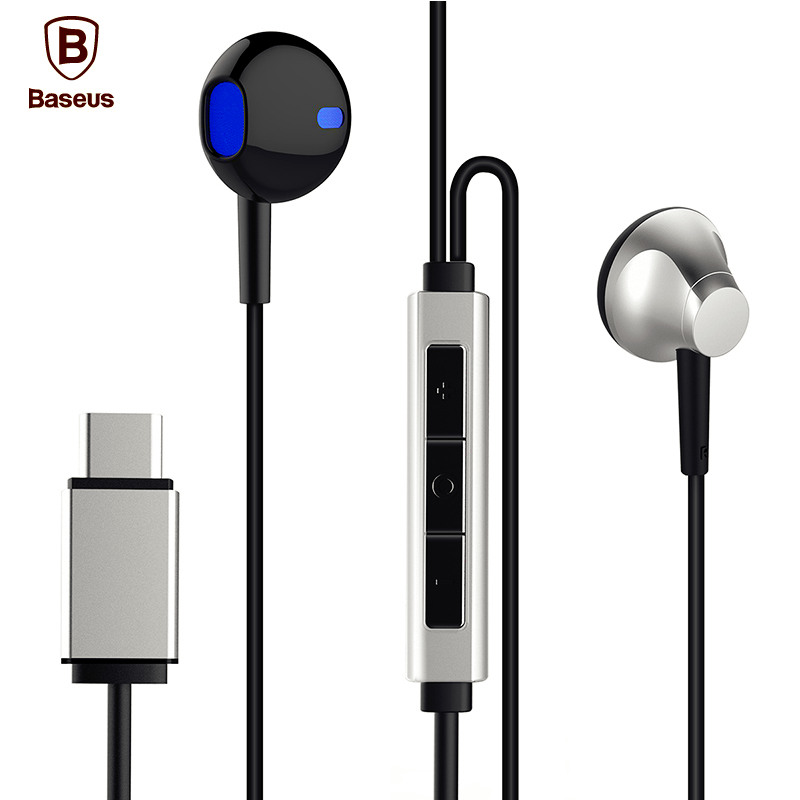 Baseus B51 USB Type C In-Ear Earphone With Microphone Heavy Bass Stereo Type-c Headset For Huawei P9 Xiaomi 5 Letv 2 Earbuds<br><br>Aliexpress