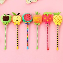 1pcs/Lot Novetly 3D Fresh Fruit fluffy natural 0.38mm Black gel pen/kawaii Signature pen/funny gift/office school Stationery(China)