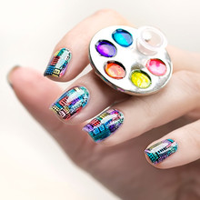 1 Pc Mini Finger Nail Art Palette For Free Hand Manicure Ring Palette Nail Art Tools(China)