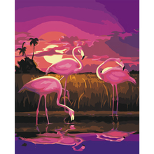 Diy Oil Painting By NumbersHand Painting on canvas Coloring by numbers Beautiful flamingos picture fashion poster wall art gift(China)