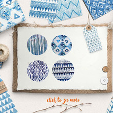 New 360pcs blue art geometry print Paper Adhesive sticker as Wedding packing Label Labels Gift Decoration Tag