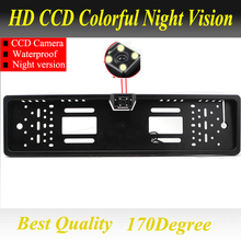 For SONY CCD HD car rear view camera backup reverse Universal camera European License Plate Frame night vision with LED camera