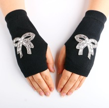 Autumn & Spring New Lovely Knitted Fingerless Girl's Wrist Gloves Computer Fashion Rhinestone Opera Women's Gloves Arm Warmer(China)