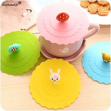 Keythemelife Lovely Animal Fruit Shape Anti-dust Silicone Glass Cup Cover Coffee Mug Suction Seal Lid Cap Silicone Cup Cover 8D