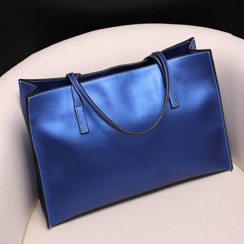 genuine leather high capacity women handbag cow leather pure color casual tote Europe style daily ladys shopping bag<br>