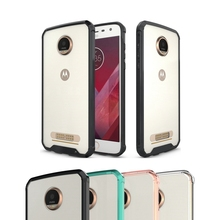TPU Bumper+Acrylic Transparent Clear Back Cover Case For Moto Z2 Play XT1710 Protection Air Hybrid Shockproof Phone Case Bag