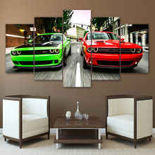 Home Decor Modern HD Printed Painting Canvas 5 Pieces Challenger Green Red Cars Landscape Poster Frame Pictures Wall Art Poster(China)
