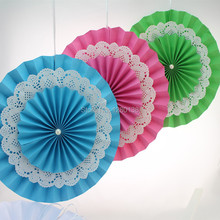 Free Shipping 50 pcs/lot 12inch(30cm) Paper Fan Crafts Double Layers Paper Fan Party Wedding Graduation Decoration