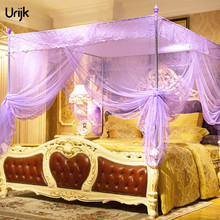 Urijk 1Set Elegant Bed Canopy Double Bed Mosquito Net Three Door Palace Mosquito Net Quadrate Universal Mosquito Net for Double
