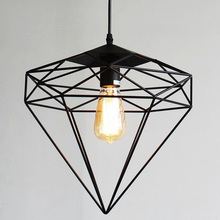 Vintage wrought iron pendant light,4 kinds Diamonds shape metal cage lampshade droplight restaurant cafe loft lighting fixtures(China)