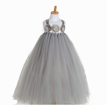 Fashion 3D flower children bridal dress grey ball gowns for wedding and party