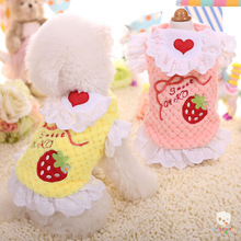 Pet Products Clothes For Dogs Cute Strawberry Print Shirt Dog Clothes Coat With Lace Apron Dress Puppy Clothing Pink,Yellow XXS