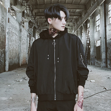 Autumn coat male Korean version the trend hip hop pilot jacket baseball clothing Harajuku bf loose right Zhilong with paragraph(China)