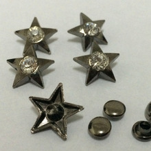 30PCS 15MM Gun Metal Plated Star Studs Rivet Punk Bottom Studs Spike Crystal Studs Fit Shoes Belt Bag Accessorie Leather Craft