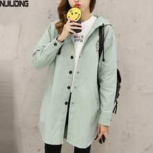 NIJIUDING New Autumn Women Print Letter Street Trench Coat Loose XS-2XL Design Hooded Overcoat Loose Fit(China)