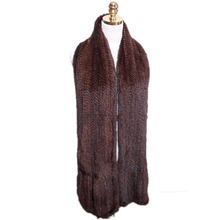 Women Mink Fur Scarf Hand Knitted Fashion Mink Fur Muffler Luxury Real Mink Fur Neck Warmer Fur Stole 85/85