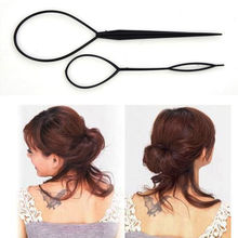 2Pcs Black Plastic Magic Topsy Tail Hair Braid Ponytail Styling Maker Clip Tool New