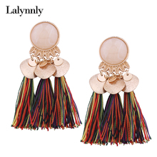 Lalynnly Ethnic Colorful Tassel Earrings Pendant Bohemian Earrings for Women Fringe Earrings with Stones Vintage Jewelry E11191(China)