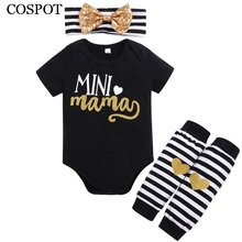 COSPOT 2018 New Baby Girls Clothes 3Pcs Headband+Bodysuit+Legges Summer Striped Cotton Clothing Set Newborn Clothes Jumpsuit C50(China)