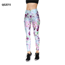amazing light purple blue running pants colorful flowers sexy casaul fitness leggings comfortable absorbent elasticity yoga