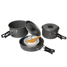 11pcs/set Outdoor Camping Hiking Cookware Backpacking Cooking Picnic Bowl Pot Pan Set Pinic Equipment 2-3 people(China)