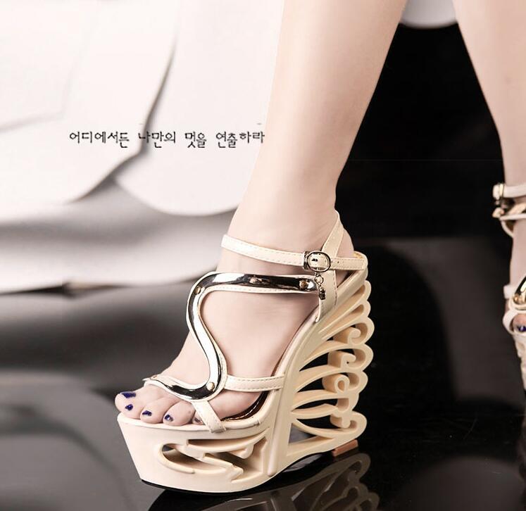 manmitu4-Free shipping NEW vogue Adult summer heels women wedges sandals girls fashion buckle strange heel platform shoes  15cm<br><br>Aliexpress