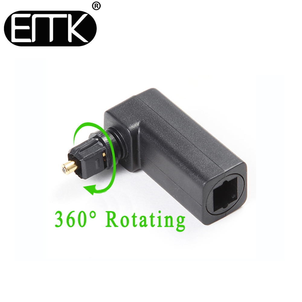 EMK Spdif Optical Connector Toslink 90 Degree Optical Audio Cable Adapter Male to Female Right Angle Stereo Audio 360 Rotates(China (Mainland))