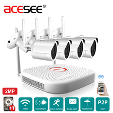 Acesee Home Surveillance Camera CCTV System 4CH 1080P Wireless NVR Kit IP Camera Outdoor CCTV IPP6 Security Alarm Camera System(China)