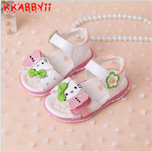 KKABBYII Girls Sandals New Summer Cartoon Hello kitty Fashion Girls Shoes Sandals Flower Diamond Led Kids Shoes Sneakers
