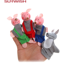 Surwish 4Pcs Soft Plush Three Little Pigs Fairy Tale Finger Puppet Set Children Story Telling Helper Dolls